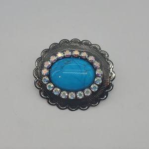 JUMBO BLUE TURQUOISE RHINESTONE CONCHO RING